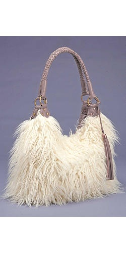 Ivory Mongolian Braided Handle Fur Handbag