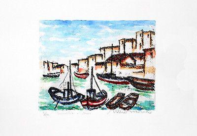 """Mario Mosca """"BARCHE DI PESCATORI"""" litografia acquerellata a mano 25 x 35"""
