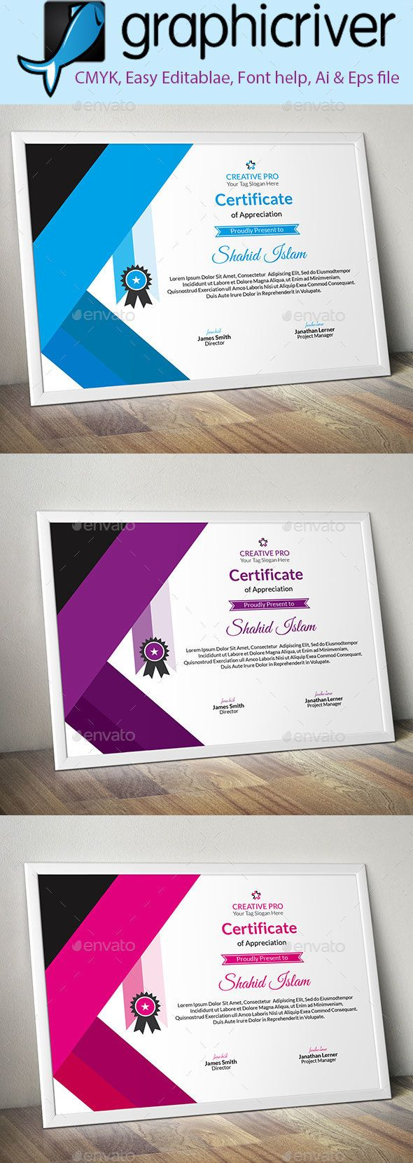 #Corporate #Certificate #template (7) - Certificates Stationery #design. download: https://graphicriver.net/item/corporate-certificate-7/20315829?ref=yinkira
