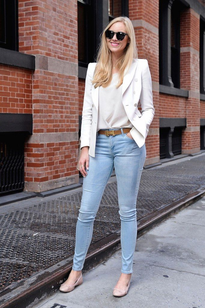 a white blouse, skinnies, a white blazer and flats