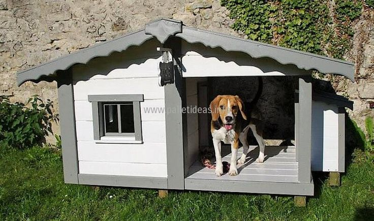 See the full look of the dog house and the lovely pet sitting inside it, there is a window so the fresh air can pass easily. The combination of gray and white color is looking outstanding and it can be white and brown as the dog's color.