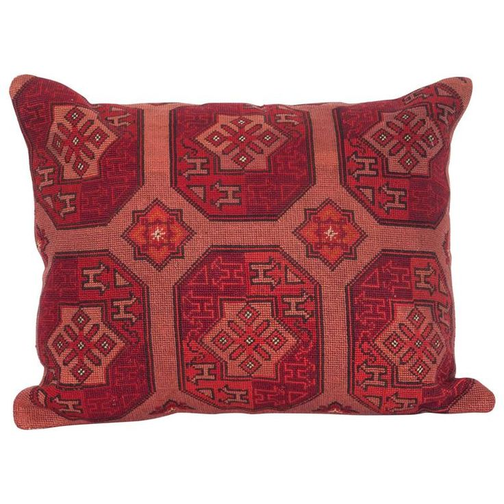 Pillow Made Out of an Early 20th Century Central Asian Cross Stitch Embroidery | From a unique collection of antique and modern pillows and throws at https://www.1stdibs.com/furniture/more-furniture-collectibles/pillows-throws/