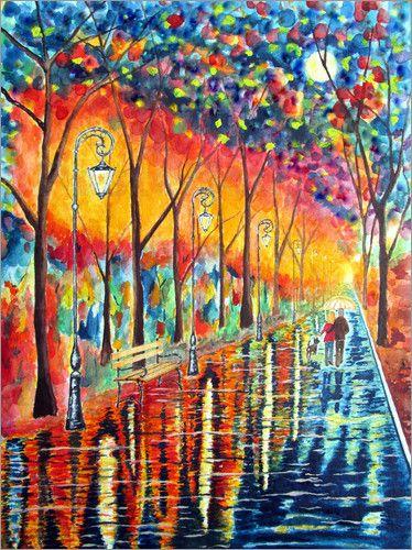 siegfried2838 - Spaziergang bei Nacht im Regen Malerei
