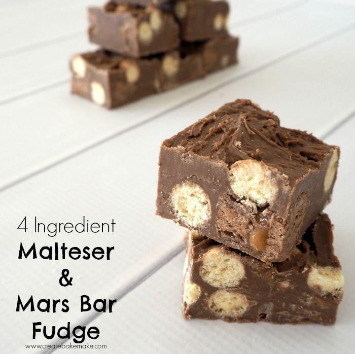 4 Ingredient No Bake Malteser and Mars Bar Fudge