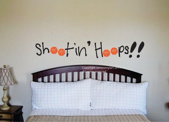 Basketball Decal - Vinyl Wall Art - Bedroom Basketball Wall Design -  Boys Room - Vinyl Wording Lettering - Stencil - Basketball Decals on Etsy, $34.95
