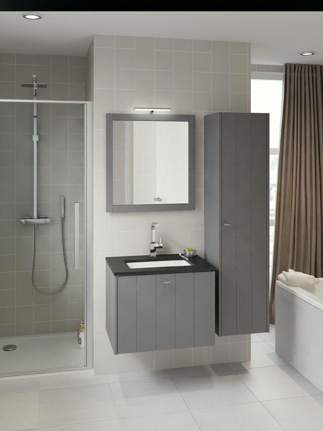 Bruynzeel badmeubel Bino 70cm puurgrijs met granieten wastafel / badkamerkast / badkamer idee / meuble salle de bain gris pur