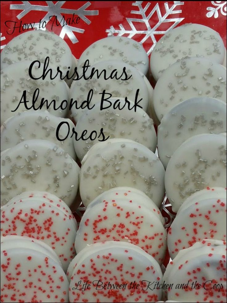 Yesterday I started making my Christmas treats (I freeze them til the holidays)!  CLICK THROUGH NOW to see how to make my Christmas Almond Bark Oreos!  They. Are. Awesome!