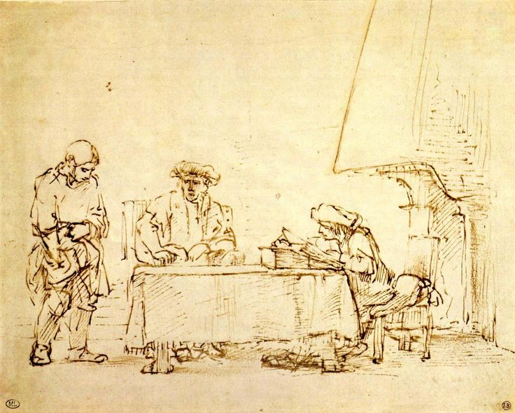 Rembrandt, parable of the merciless servant, c. 1655, capturing expression with hardly any gestures the inner meaning of a scene. enterting  into the spirit of attempting to visualize a situation exactly.