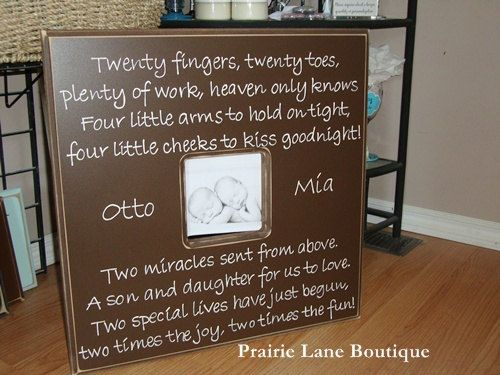20x20 Custom Picture Frame with Twins Quote by prairieboutique. , via Etsy.