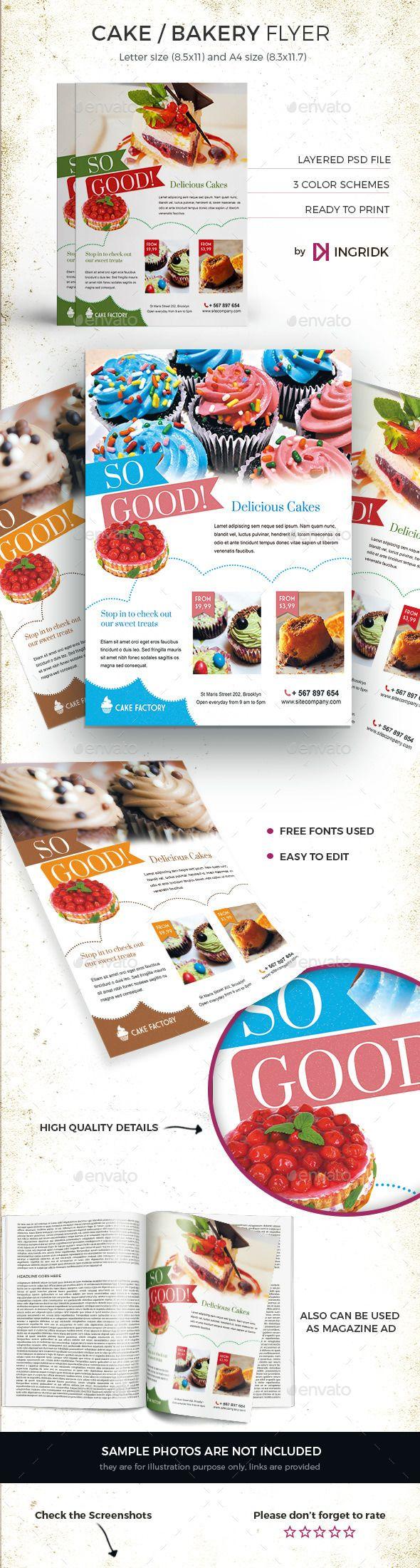 Cake / Bakery Flyer or Magazine Ad Tempalte #design Download: http://graphicriver.net/item/cake-bakery-flyer-or-magazine-ad/12486613?ref=ksioks