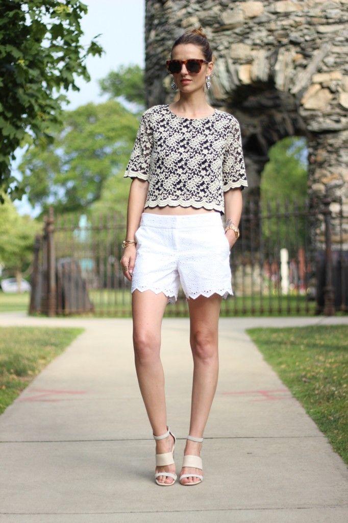 Lace Tee And Eyelet Shorts