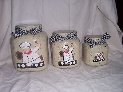 Fat chef canister set of 3 free personalization on ebay for Fat chef kitchen ideas
