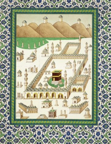 Schematic View of Mecca, showing the Kaaba, from a book on Persian ceramics