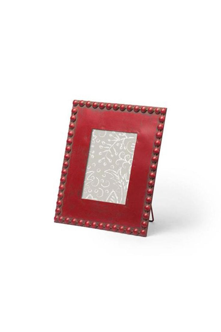 """Red Beaded 5 x 7 Picture Frame. Full Dimensions: 11"""" x 10""""  Red Beaded Frame by Candym. Home & Gifts - Home Decor - Frames Canada"""