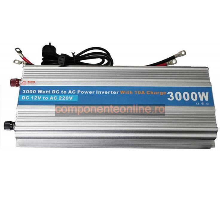 Invertor de tensiune, 12V - 220V AC, 2800W, cu incarcare baterie - 201062