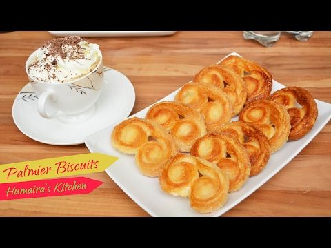 Sweet Puff Pastry Biscuits in Urdu | Hindi - Palmier or Elephant ears - Humaira's Kitchen - http://www.bestrecipetube.com/sweet-puff-pastry-biscuits-in-urdu-hindi-palmier-or-elephant-ears-humairas-kitchen/