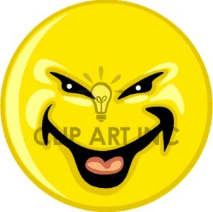 Laughing Smiley Face Clip Art | This royalty-free clipart picture of a mean laugh smilie . The image ...