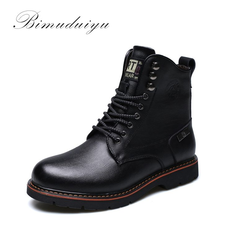 79.75$  Watch here - http://alie0e.shopchina.info/1/go.php?t=32472012392 - BIMUDUIYU Tactical Waterproof Winter Warm Snow Boots Men Vintage Leather Motorcycle Ankle Martin High Cut Male Casual  Clearance 79.75$ #buyininternet