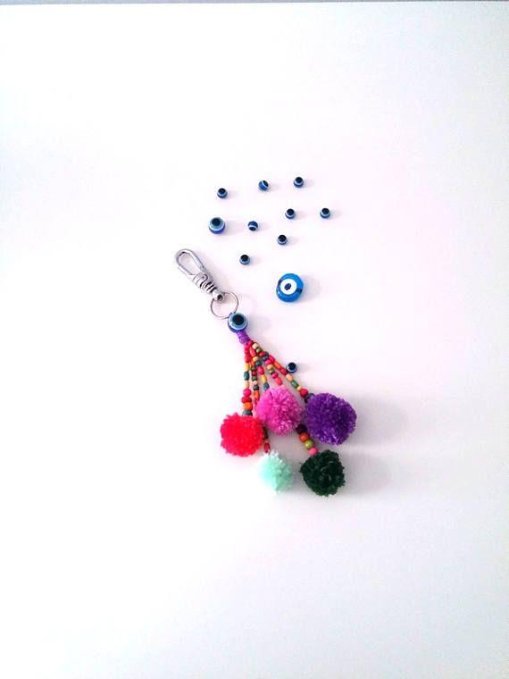 Colorful Pompom Bag Trim Pompom Keychain Charm Purse Bag
