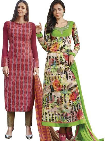 Designer Printed Crepe Straight Cut Style Maroon & Blue Combo Suit D.No.- 6544,6551