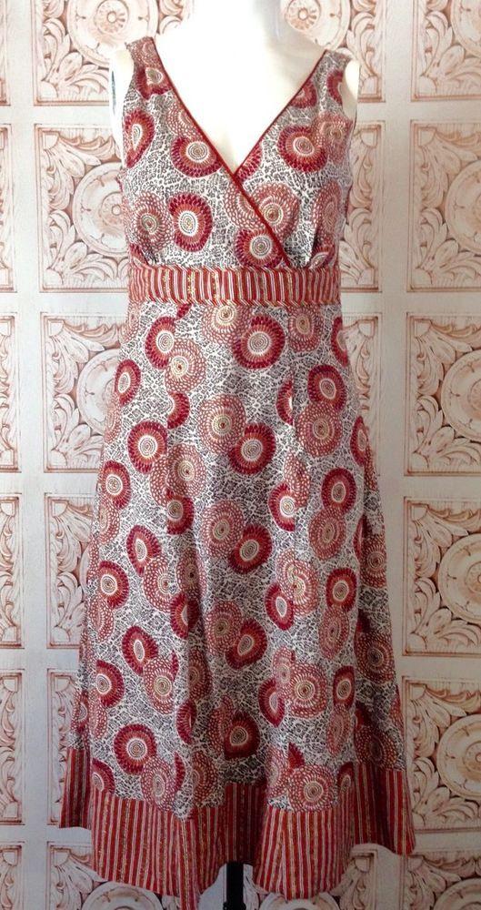 ANOKHI Red Damask Maxi Sun Dress Gold Shimmer Long Boho Festival Small #Anokhi #Sundress #Casual