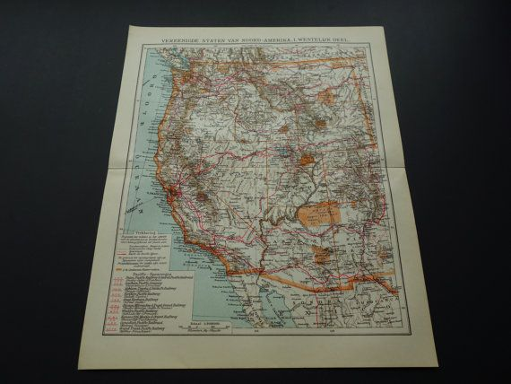 1922 old map of the United States of America USA detailed antique orange California Oregon west oude kaart Verenigde Staten van Amerika