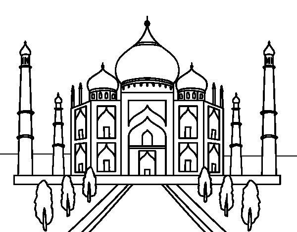 The Taj Mahal Coloring Page Speech Room Taj Mahal Drawing Taj Mahal Art Taj Mahal