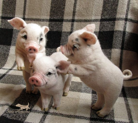 needle felted pigs-realistic pig-miniature felted sculpture