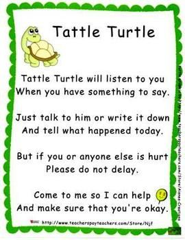 """A Tattle Turtle Poster and accompanying recording sheet set. The poster includes the popular tattle rhyme encouraging students to """"tell it to the turtle"""" and write their concerns on one of the accompanying papers. Place these in a basket along with a turtle puppet and alleviate tattling in your classroom!"""