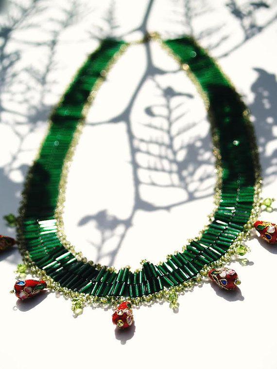 Beaded statement necklace Vaccinium vitis-idaea by LoveLatinStore