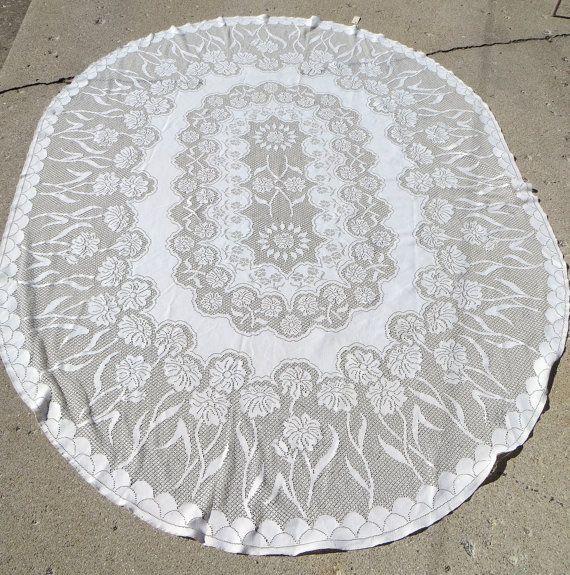 Oval Vintage Lace Tablecloth Floral Design By HerbgirlAndVintage, $52.00  SOLD