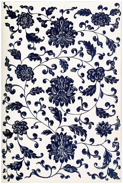 From a bottle of blue and white china; a very fine example of  symmetrical arrangement: it is also interesting as showing the limit of shade and relief in the representation of flowers - a limit which the Chinese constantly reach, but never exceed.    From Examples of Chinese ornament, by Owen Jones, London, 1867.    (Source: archive.org)