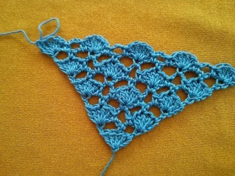Elegant crocheted triangular scarf - YouTube