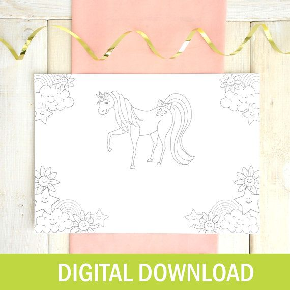 Pony Colouring In Paper Placemat - DIGITAL DOWNLOAD - Printable - Wedding Placemats - Children's Party Placemats - Party Favours - Let's Dream - Etsy