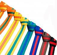 Taekwondo Stripe Belts are all the mid-grade belts up to Black Belt
