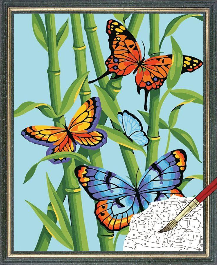 oleos de bambu | De bambú y mariposas enmarcado pintura al óleo de bricolaje pintura ...