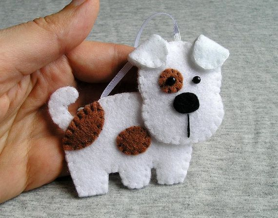 Handmade felt dog ornament dog terrier, felt ornament, cute hanging, white brown, christmas tree ornament