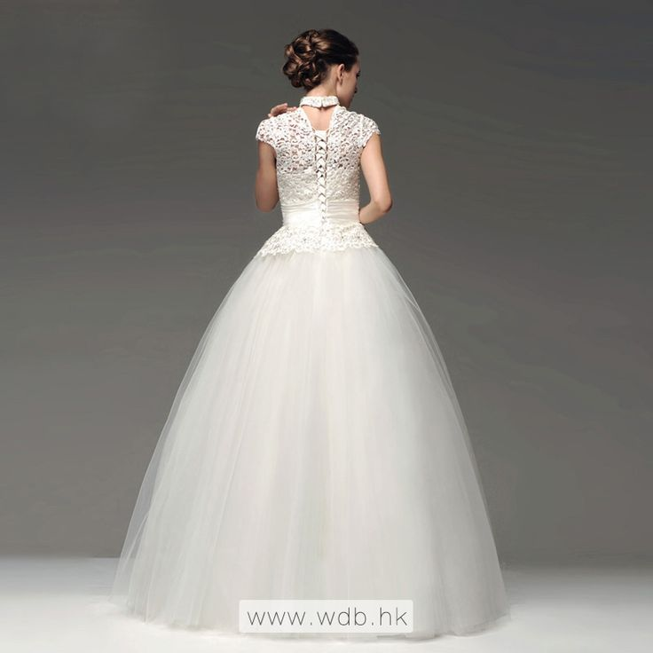 """""""High neck lace top with tulle skirt floor-length wedding dress $259.88"""""""