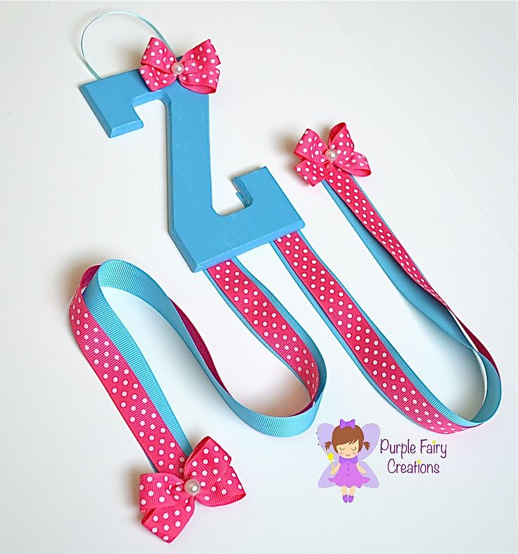 Initial Letter Hair Accessories Organizer - Turquoise Blue and Hot Pink (Hair Bow & Headband Holder) Baby Girl, Girl or Teen Room Wall Decor (Organizador de Accesorios del Cabello / Pelo para Niña) by Purple Fairy Creations