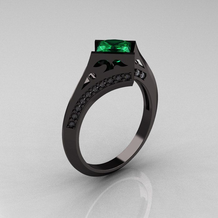 Exclusive French 14K Black Gold 1.23 CT Princess Emerald Diamond Engagement Ring R176-14BGDEM.   $2,149.00, via Etsy. artmasters