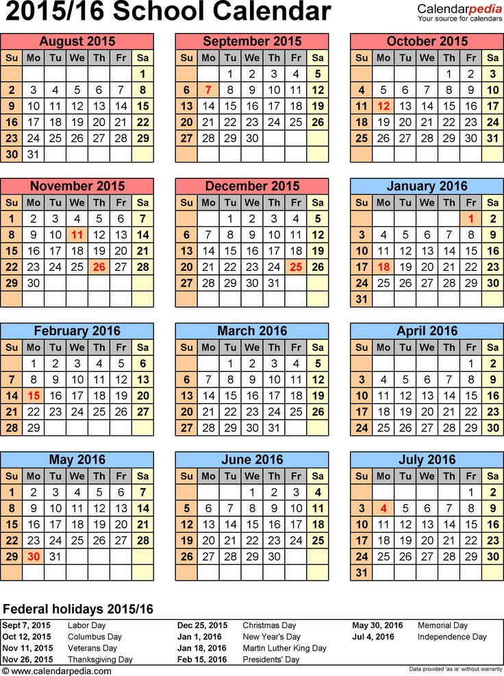 Template 6: School calendar 2015/16 for Word, portrait orientation, year at a glance, 1 page