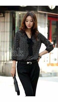 Women's Polka Dot Black Bowknot 3/4 Sleeve Loose Chiffon Shirt Office Blouse €8.50