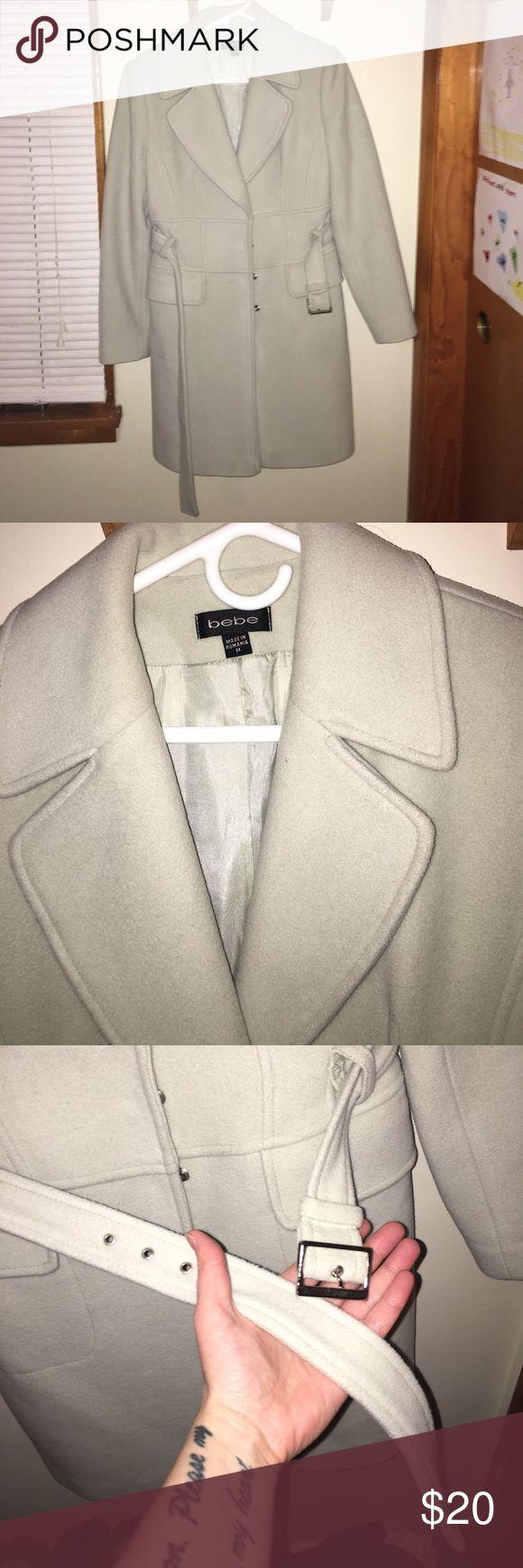 Bebe Women's Coat Pale mint green Bebe wool coat. Knee length. Only worn 3x. bebe Jackets & Coats Trench Coats