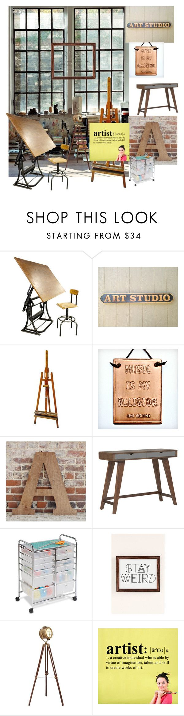 """Workspace"" by oneandonlylish ❤ liked on Polyvore featuring interior, interiors, interior design, home, home decor, interior decorating, EASEL, Dot & Bo, Honey-Can-Do and Urban Outfitters"
