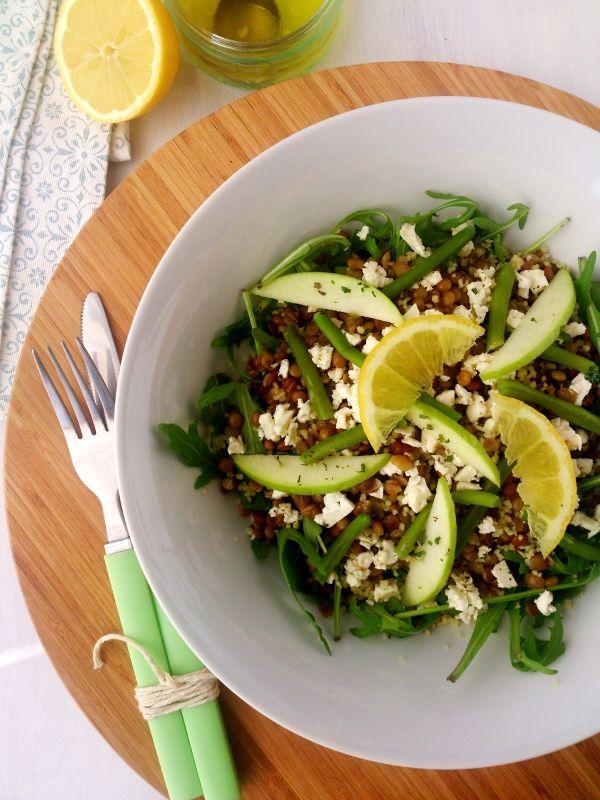 Ma salade de lentilles blondes (pomme, roquette, feta, citron, haricots verts, semoule, ail, huile d'olive)