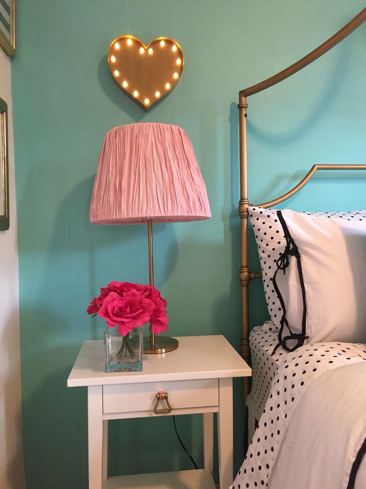 Preteen girls bedroom. Tiffany's blue accent wall