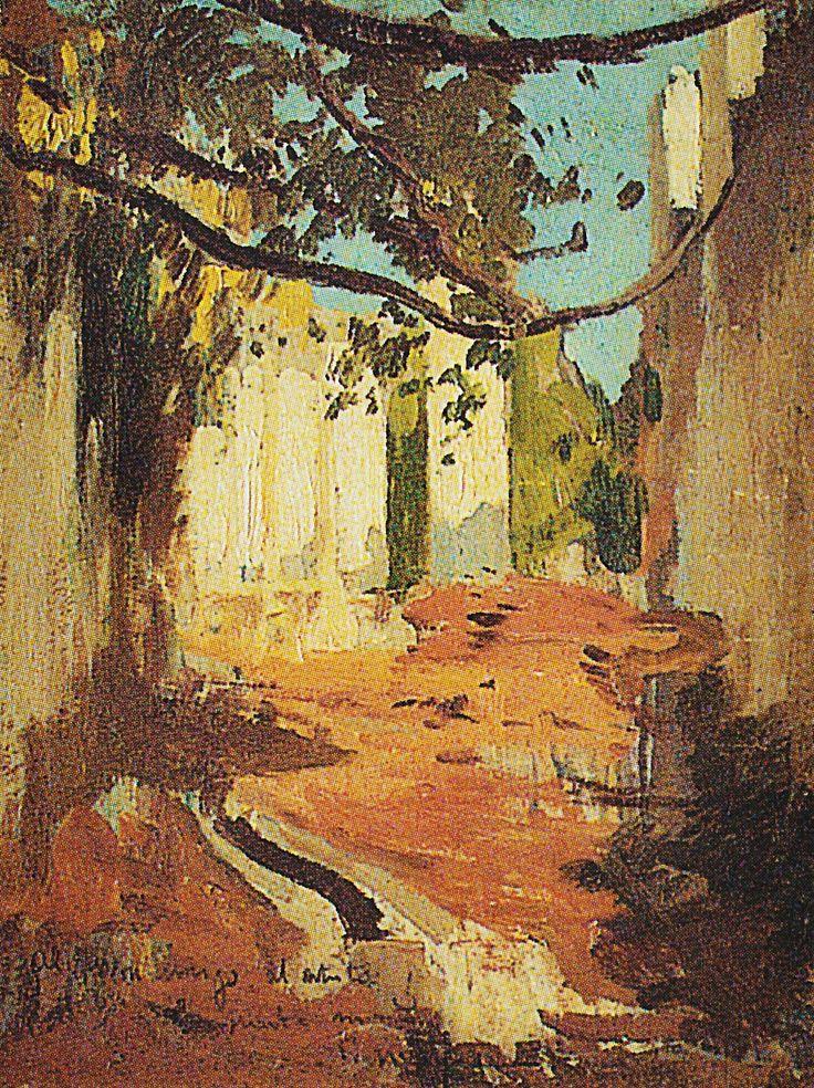Eliseo Meifrén Roig. Calle de pueblo. Óleo sobre cartón. Firmado y dedicado. 46 x 35,5 cm. Subastas Durán, Madrid, junio de 1999.: