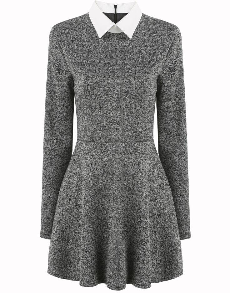 Contrast Collar Pleated Dress