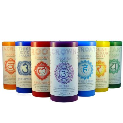 Hippie Candles at discount prices from HippieShop.com; chakra candles