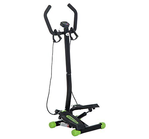 HOMCOM Mini Stepper with Handle Workout Fitness Machine Pulling Rope Sport Exercise Home Gym